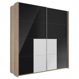 Sistem Lira - Dulap 2000 negru și alb lucios