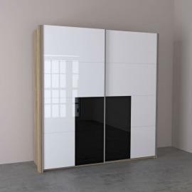 Sistem Lira - Dulap 2000 alb și negru lucios