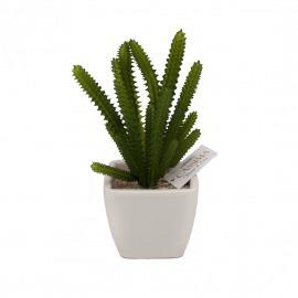 Cactus plastic în ghiveci alb