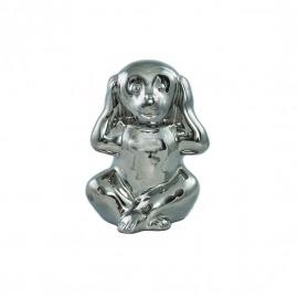 """Decor argintiu maimuța """"nu aude"""" H-16 cm"""