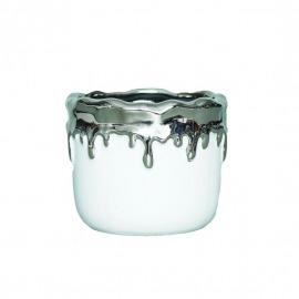 Ghiveci ceramic alb/argintiu H10 cm