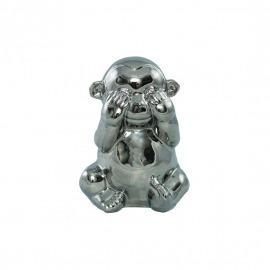 """Decor argintiu maimuța """"nu vede"""" H-14 cm"""