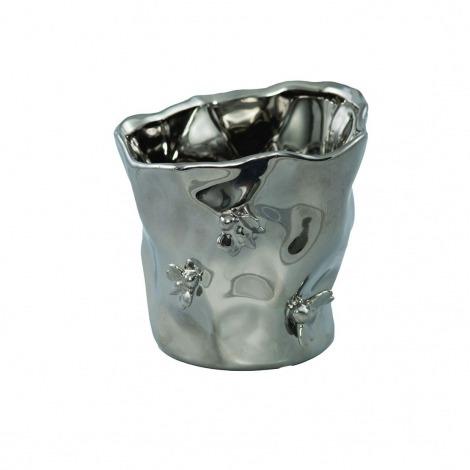 Ghiveci ceramic argintiu H-13 cm