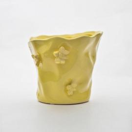 Ghiveci ceramic galben H-13 cm